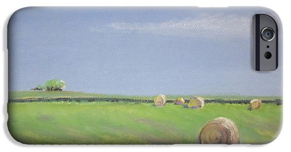 Farm Landscape Pastels iPhone Cases - Allendale Farmland iPhone Case by Sandra Strohschein