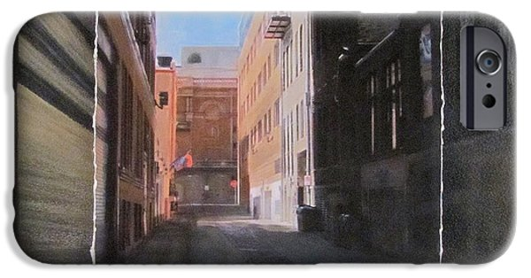 Alley Mixed Media iPhone Cases - Alley Front Street layered iPhone Case by Anita Burgermeister