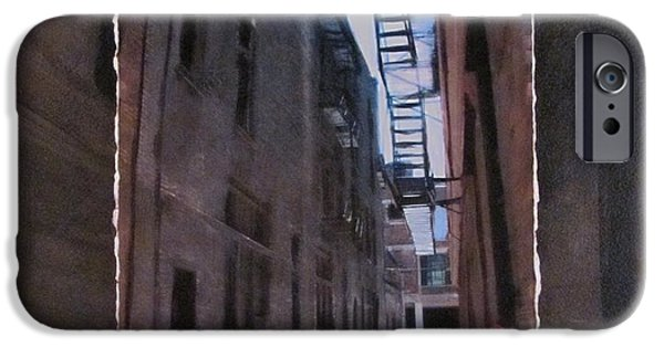Alley Mixed Media iPhone Cases - Alley with Fire Escape layered iPhone Case by Anita Burgermeister