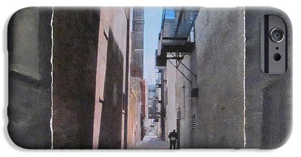 Alley Mixed Media iPhone Cases - Alley with Guy Reading layered iPhone Case by Anita Burgermeister