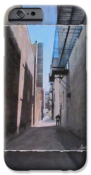 Alley with Guy Reading layered iPhone Case by Anita Burgermeister