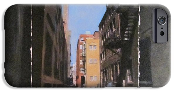 Alley Mixed Media iPhone Cases - Alley with red and tan buildings layered iPhone Case by Anita Burgermeister