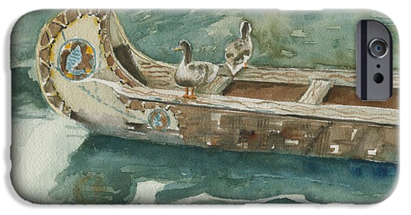 Canoe iPhone Cases - Along For The Ride iPhone Case by Arline Wagner