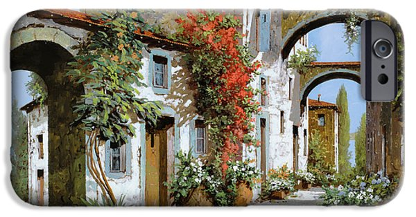 Street Scene Paintings iPhone Cases - Altri Archi iPhone Case by Guido Borelli