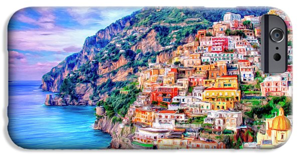 Coast Paintings iPhone Cases - Amalfi Coast at Positano iPhone Case by Dominic Piperata