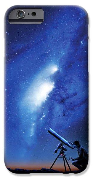 Stargazing iPhone Cases - Amateur Astronomy, Computer Artwork iPhone Case by Detlev Van Ravenswaay