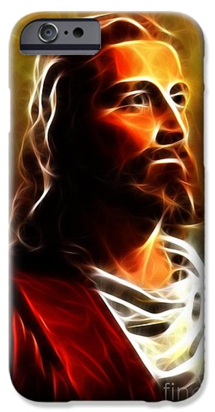 The Church Mixed Media iPhone Cases - Amazing Jesus Portrait iPhone Case by Pamela Johnson
