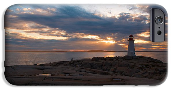 Sun Breaking Through Clouds iPhone Cases - Amazing Sunset at Peggys Cove iPhone Case by Andre Distel