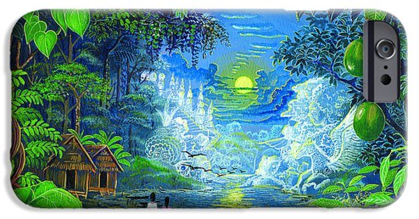 Visionary Paintings iPhone Cases - Amazonica Romantica iPhone Case by Pablo Amaringo