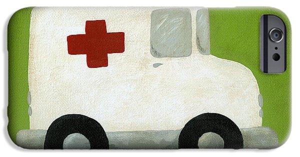 Ambulance iPhone Cases - Ambulance Nursery Art iPhone Case by Katie Carlsruh