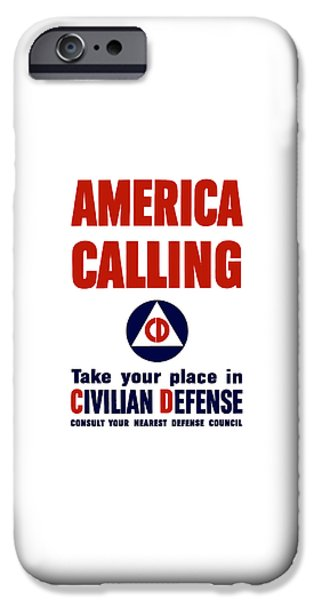 Ww1 iPhone Cases - America Calling -- Civilian Defense iPhone Case by War Is Hell Store