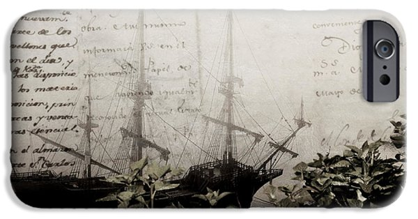 Constitution iPhone Cases - america link history - a XVIII galleon lost in ocean of words iPhone Case by Pedro Cardona