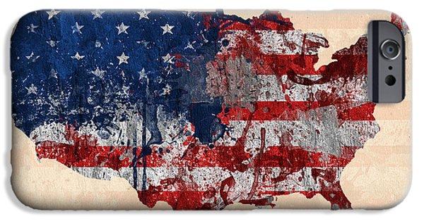 American Flag Digital iPhone Cases - America iPhone Case by Mark Ashkenazi