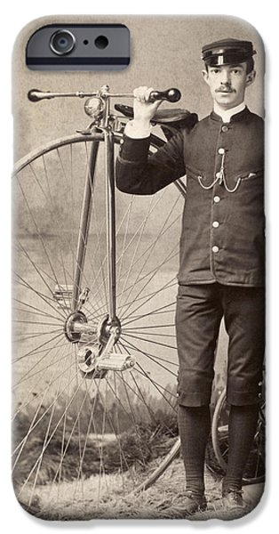 1880s iPhone Cases - AMERICAN BICYCLIST, 1880s iPhone Case by Granger