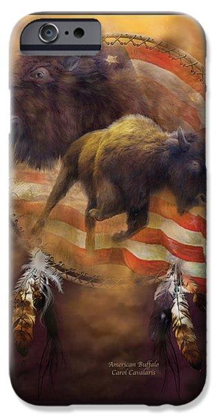 Dreamcatcher iPhone Cases - American Buffalo iPhone Case by Carol Cavalaris