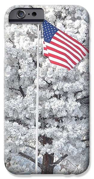 Recently Sold -  - July 4th iPhone Cases - American Flag Snow  iPhone Case by Phyllis Ezit