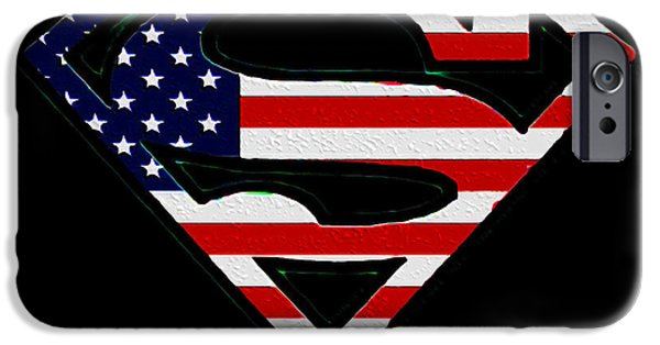 Justice League iPhone Cases - American Flag Superman Shield iPhone Case by Bill Cannon