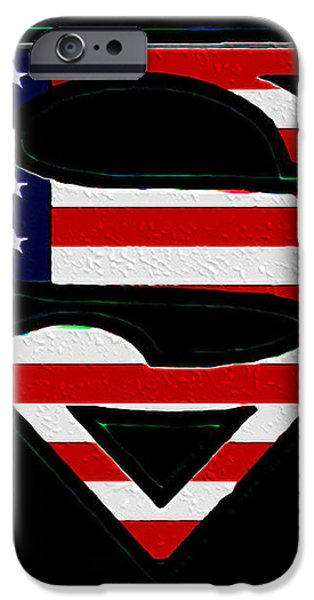 American Flag Superman Shield iPhone Case by Bill Cannon