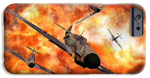 Bombing iPhone Cases - American P-51 Mustangs Involved iPhone Case by Mark Stevenson