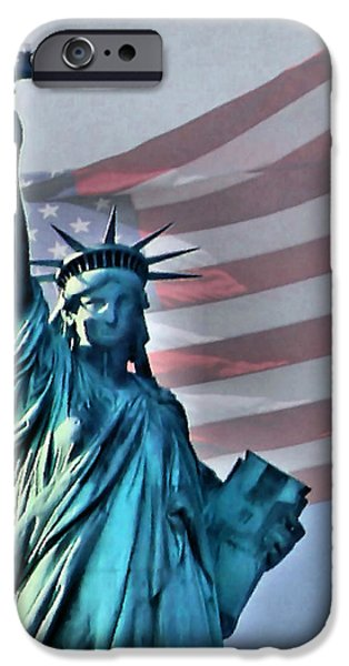 American Flag iPhone Cases - American Welcome iPhone Case by Kristin Elmquist