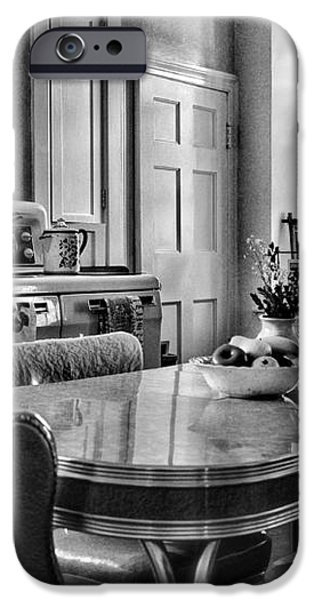 Americana - 1950 Kitchen - 1950s - retro kitchen Black and White iPhone Case by Paul Ward