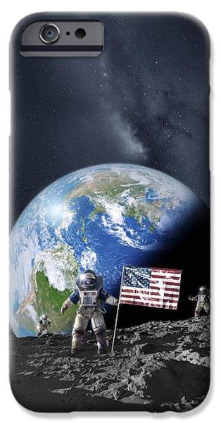 Aeronautical iPhone Cases - Americans On The Moon, Artwork iPhone Case by Detlev Van Ravenswaay