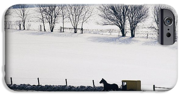 Horse And Buggy Photographs iPhone Cases - Amish Horse and Buggy in Snowy Landscape iPhone Case by Jeremy Woodhouse