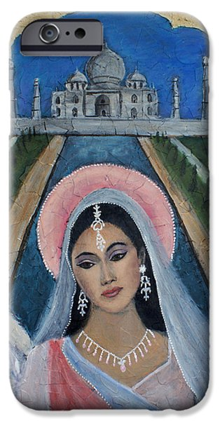 Spiritual Portrait Of Woman iPhone Cases - Amishi An Earth Angel Representing A Young Bride On Her Wedding Day iPhone Case by The Art With A Heart By Charlotte Phillips