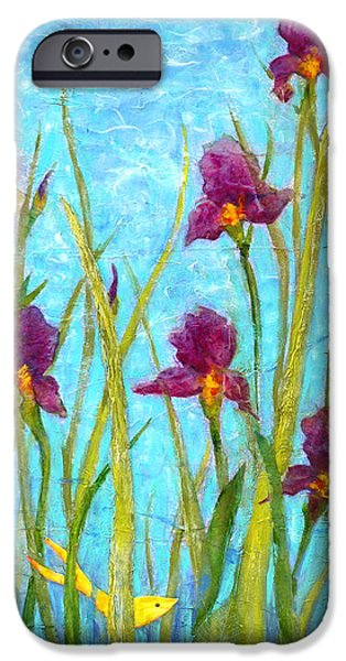 Multimedia Mixed Media iPhone Cases - Among the Wild Irises iPhone Case by Carla Parris