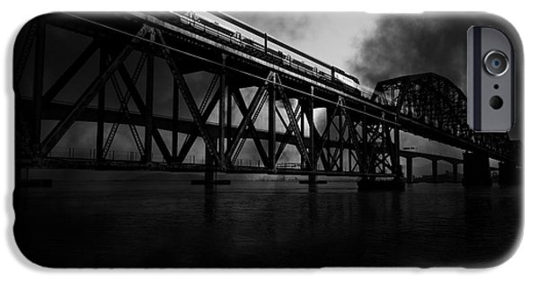 Bay Bridge iPhone Cases - Amtrak Midnight Express - 5D18829 - Black and White iPhone Case by Wingsdomain Art and Photography