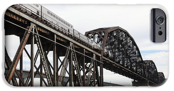 Bay Bridge iPhone Cases - Amtrak Train Riding Atop The Benicia-Martinez Train Bridge in California - 5D18728 iPhone Case by Wingsdomain Art and Photography