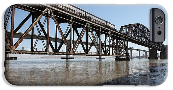 Bay Bridge iPhone Cases - Amtrak Train Riding Atop The Benicia-Martinez Train Bridge in California - 5D18829 iPhone Case by Wingsdomain Art and Photography