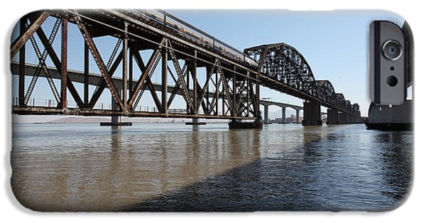 Bay Bridge iPhone Cases - Amtrak Train Riding Atop The Benicia-Martinez Train Bridge in California - 5D18830 iPhone Case by Wingsdomain Art and Photography