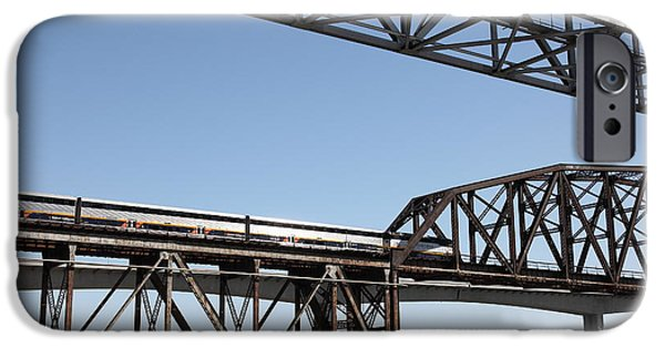 Bay Bridge iPhone Cases - Amtrak Train Riding Atop The Benicia-Martinez Train Bridge in California - 5D18835 iPhone Case by Wingsdomain Art and Photography