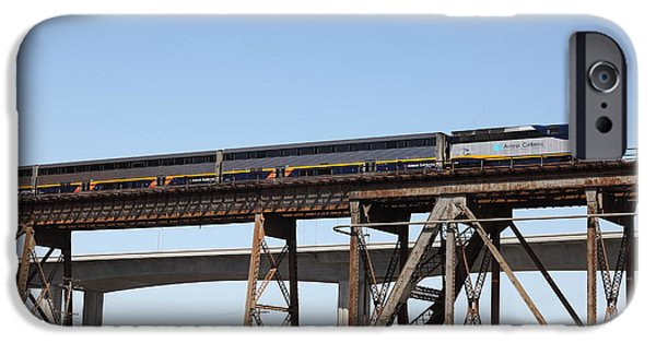 Bay Bridge iPhone Cases - Amtrak Train Riding Atop The Benicia-Martinez Train Bridge in California - 5D18839 iPhone Case by Wingsdomain Art and Photography