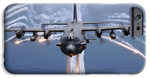 Protection iPhone Cases - An Ac-130h Gunship Aircraft Jettisons iPhone Case by Stocktrek Images