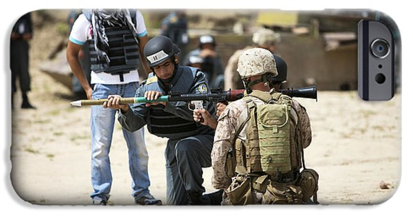 Rpg iPhone Cases - An Afghan Police Student Loads A Rpg-7 iPhone Case by Terry Moore