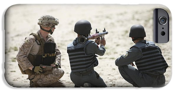 Law Enforcement iPhone Cases - An Afghan Police Student Prepares iPhone Case by Terry Moore