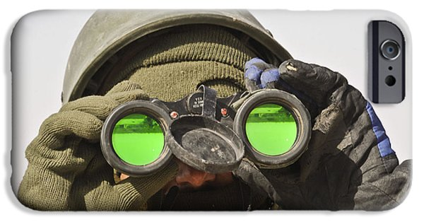 Soldier Field iPhone Cases - An Afghan Soldier Scans The Horizon iPhone Case by Stocktrek Images