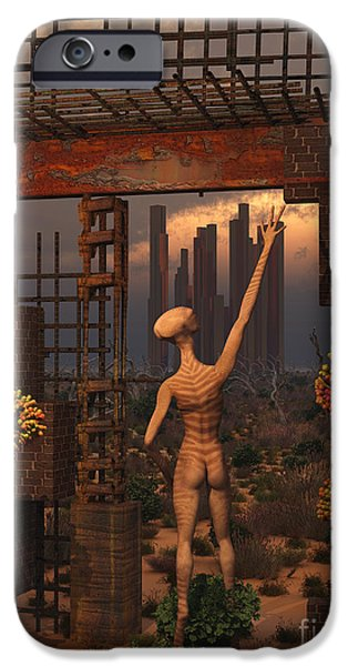 Built Structure Digital Art iPhone Cases - An Alien Reptoid Being Exploring iPhone Case by Mark Stevenson