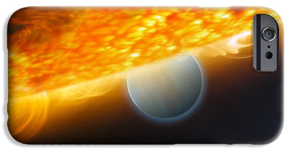 Solar Eclipse Digital iPhone Cases - An Artists Impression Of A Jupiter-size iPhone Case by Stocktrek Images