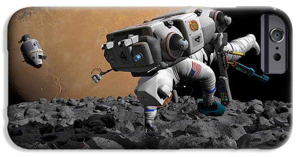 Components iPhone Cases - An Astronaut Makes First Human Contact iPhone Case by Walter Myers