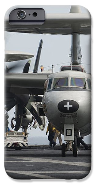 An E-2c Hawkeye Aircraft On The Flight iPhone Case by Stocktrek Images