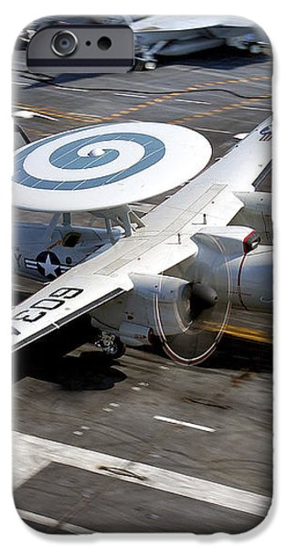 An E-2c Hawkeye Lands On The Flight iPhone Case by Stocktrek Images