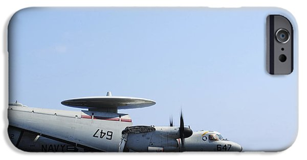 Electronic iPhone Cases - An E-2c Hawkeye On The Flight Deck iPhone Case by Stocktrek Images