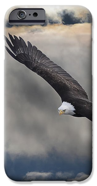 An Eagle In Flight Rising Above The iPhone Case by Robert Bartow