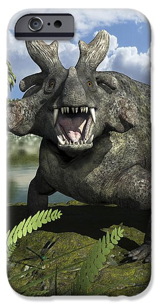 An Estemmenosuchus Mirabilis Stands iPhone Case by Walter Myers