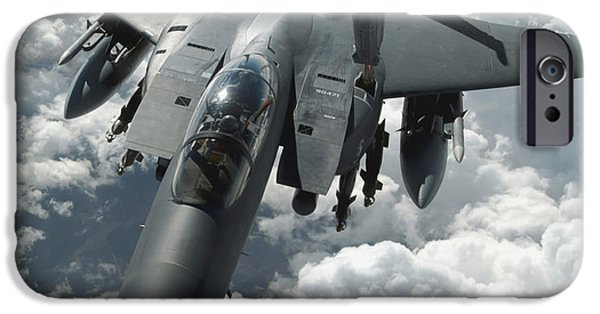 Iraq iPhone Cases - An F-15 E Strike Eagle Receives Fuel iPhone Case by Stocktrek Images
