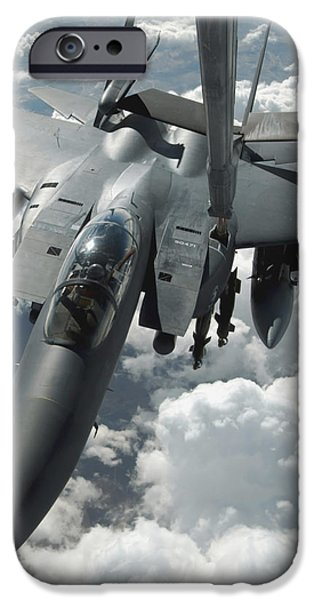 An F-15 E Strike Eagle Receives Fuel iPhone Case by Stocktrek Images