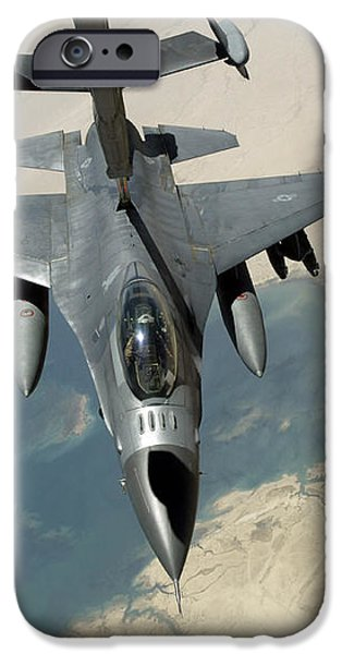 An F-16 Fighting Falcon Refuels iPhone Case by Stocktrek Images